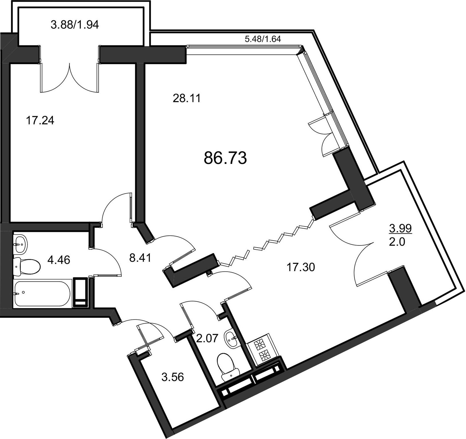 2-комнатная, 84.9 м²– 2