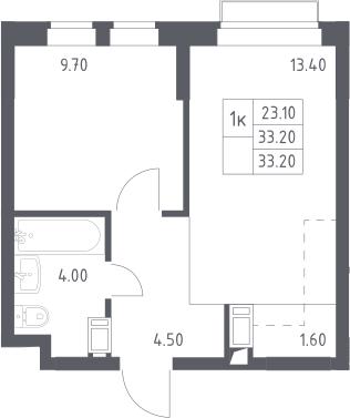 2Е-к.кв, 33.2 м², 8 этаж