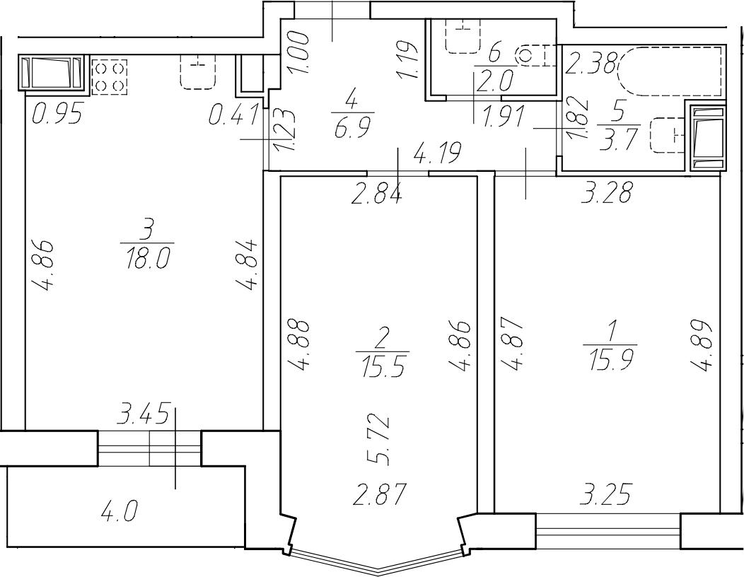 3Е-к.кв, 62 м²