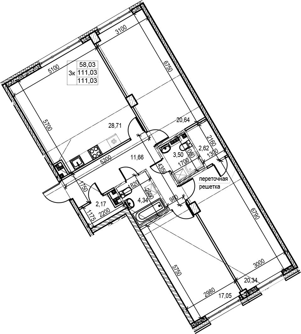 4Е-к.кв, 111.03 м², 3 этаж