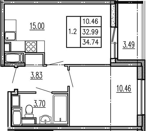 2-к.кв (евро), 36.48 м²
