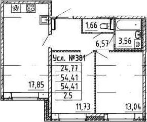 3-к.кв (евро), 54.41 м²
