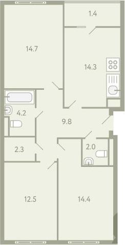 3-к.кв, 78 м²