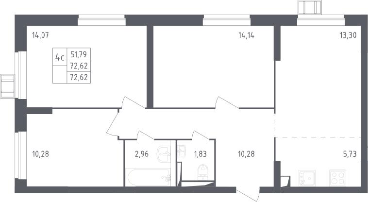 4Е-комнатная, 72.62 м²– 2