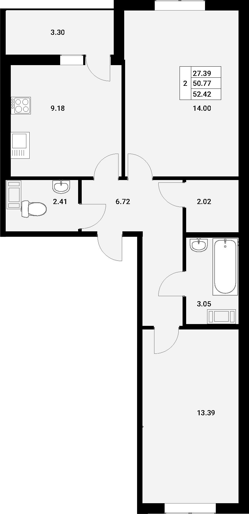 2-к.кв, 54.07 м²