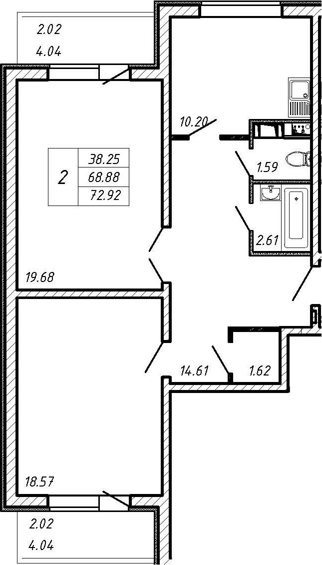 2-к.кв, 76.96 м²