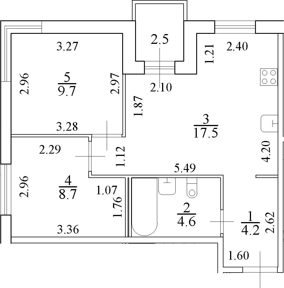 3Е-к.кв, 46 м²