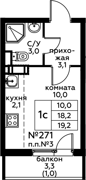 Студия, 21.53 м²