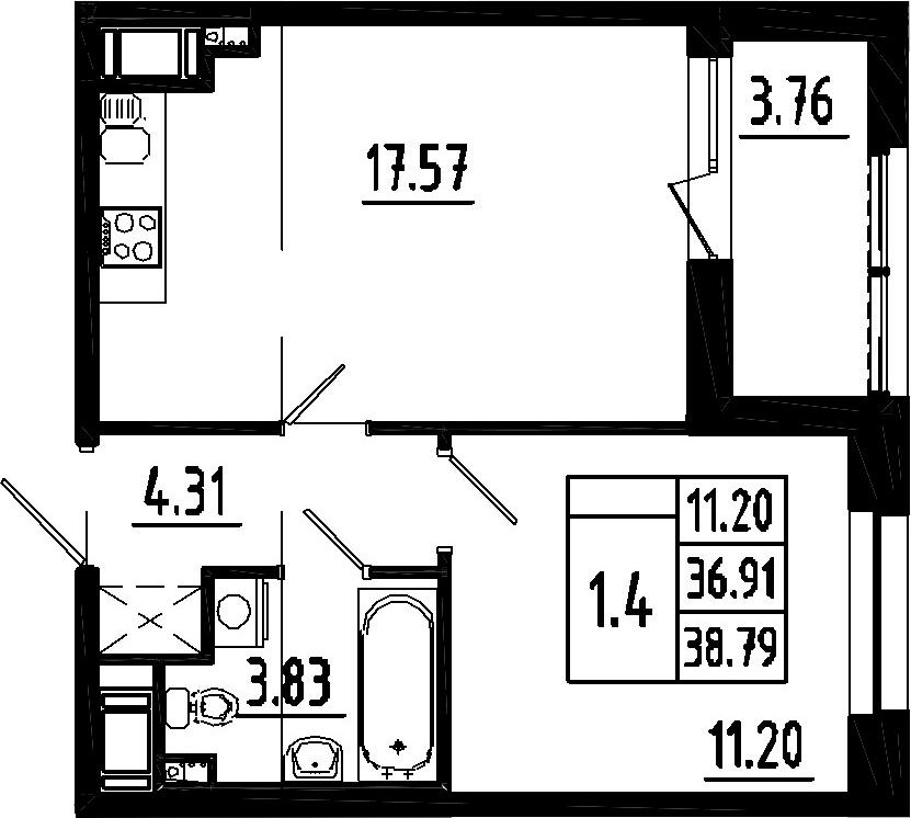 2Е-к.кв, 36.91 м²