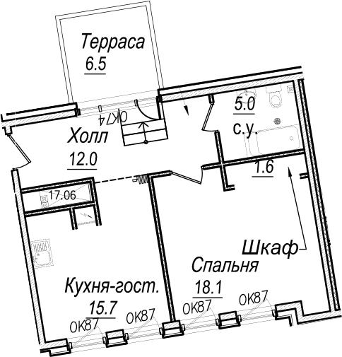 2Е-комнатная, 54.4 м²– 2