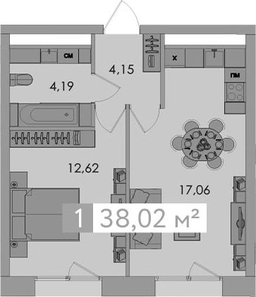 2-к.кв (евро), 38.02 м²