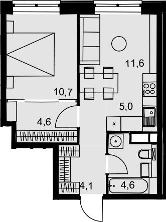 2Е-к.кв, 40.6 м², 7 этаж