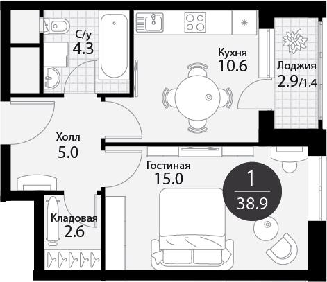 1-к.кв, 40.35 м²