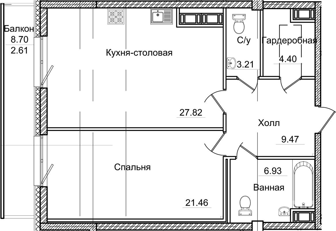 2Е-комнатная, 75.9 м²– 2