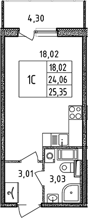 Студия, 24.06 м², 12 этаж
