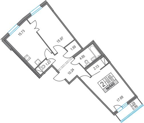3Е-комнатная, 69.62 м²– 2