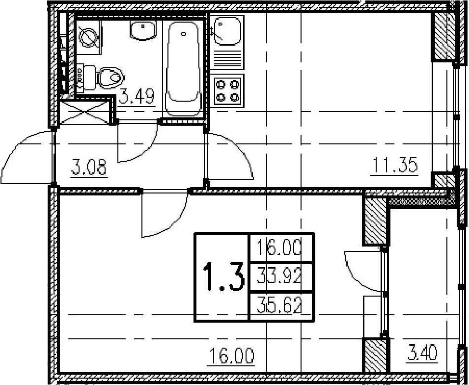 1-к.кв, 37.32 м²
