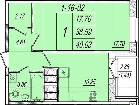 1-комнатная, 40.03 м²– 2
