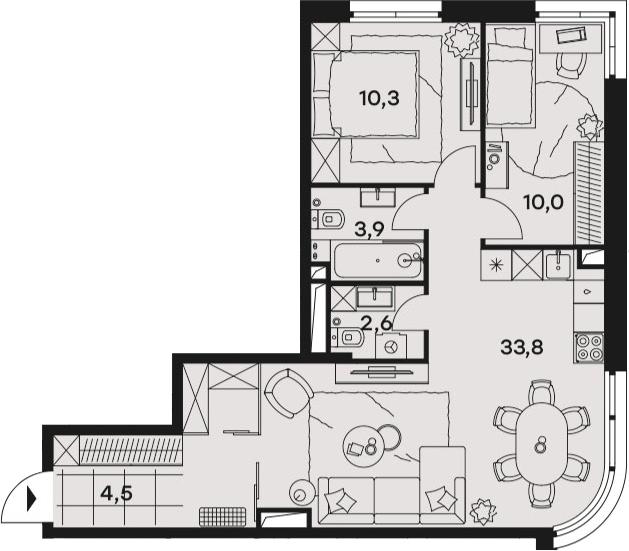 3Е-к.кв, 65.1 м², 24 этаж