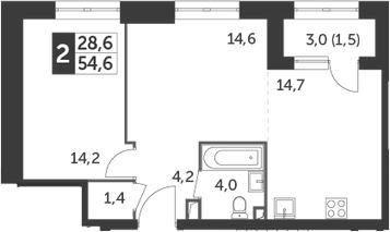 1-к.кв, 54.6 м², 14 этаж