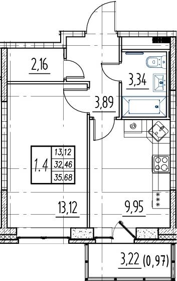 1-комнатная, 32.46 м²– 2