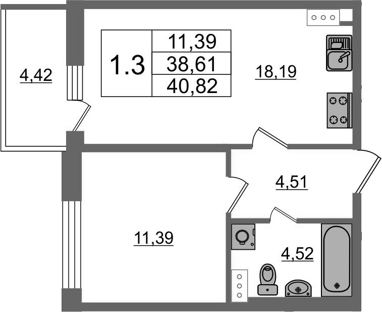 2-к.кв (евро), 43.03 м²