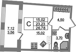 Студия, 23.22 м², от 12 этажа