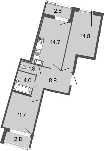 2-к.кв, 55.8 м², от 17 этажа