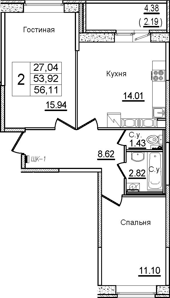 2-комнатная, 56.11 м²– 2