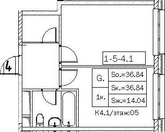 Своб. план., 36.84 м²