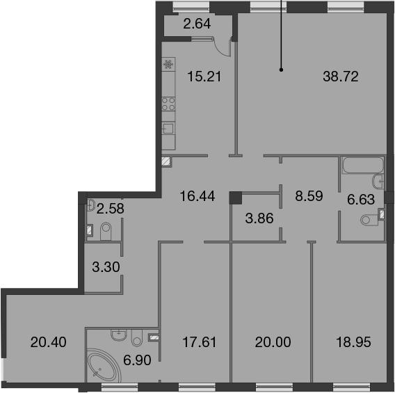 5Е-к.кв, 180.51 м², 3 этаж