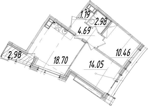3Е-к.кв, 53.56 м², 13 этаж