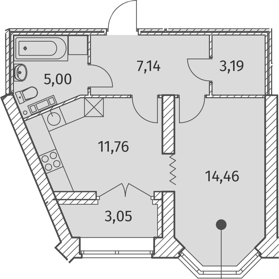 1-к.кв, 43.08 м², 3 этаж