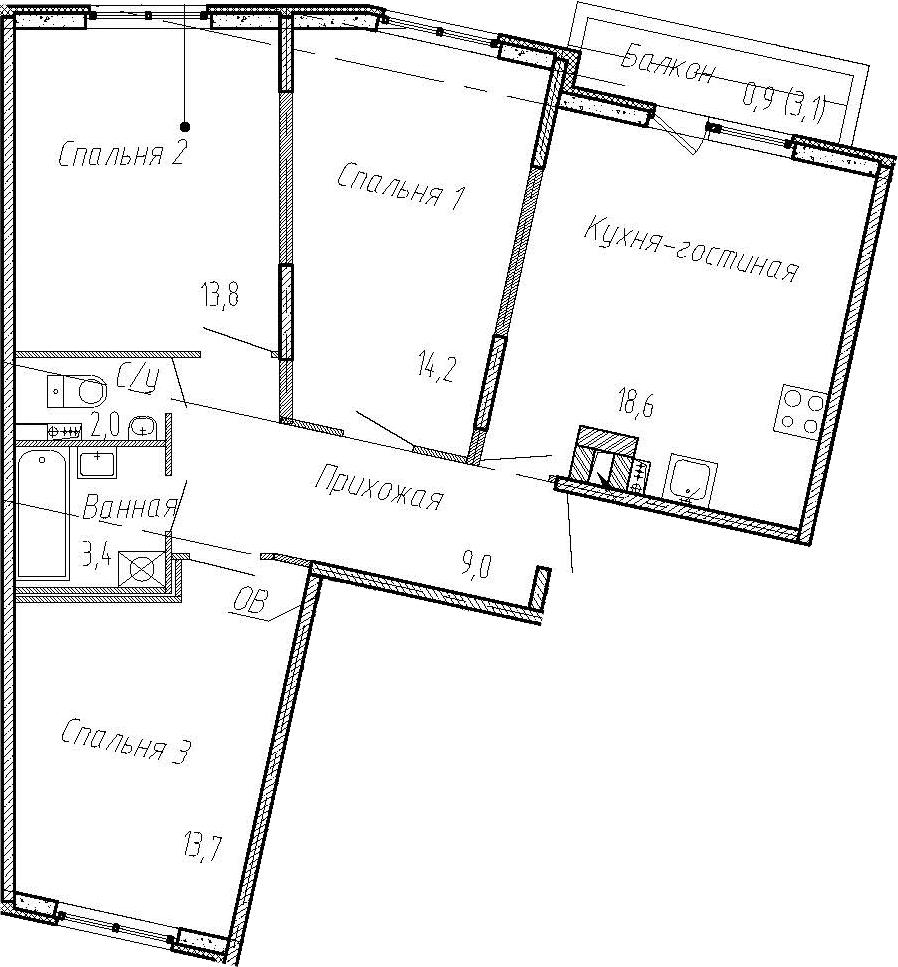 4Е-к.кв, 74.7 м², 2 этаж