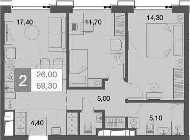 3-к.кв (евро), 60 м²