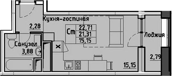 Студия, 22.71 м², 4 этаж