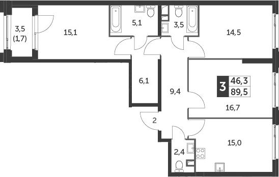 4-к.кв (евро), 91.2 м²