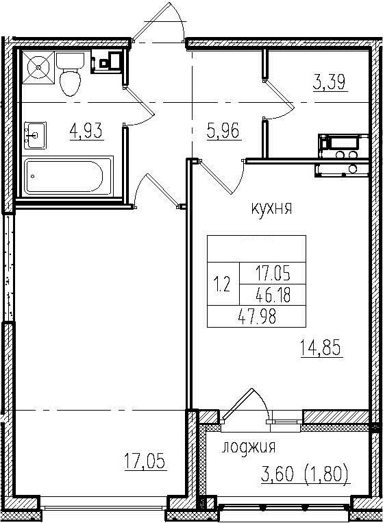 1-к.кв, 49.78 м²