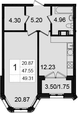 1-комнатная, 49.31 м²– 2