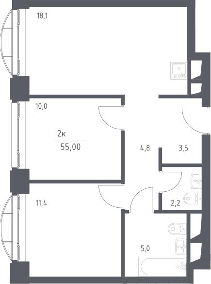 3Е-к.кв, 55 м², 4 этаж