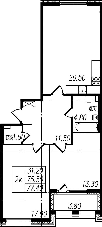 3-к.кв (евро), 79.3 м²