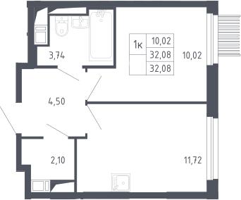 1-комнатная, 32.08 м²– 2