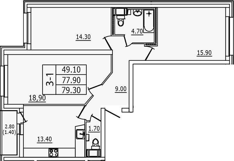 3-к.кв, 80.7 м²