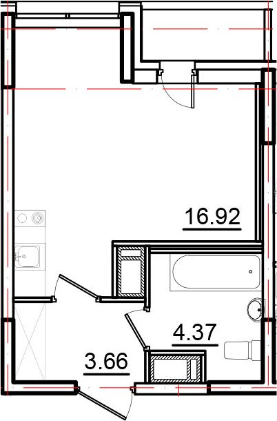 Студия, 26.07 м², от 10 этажа