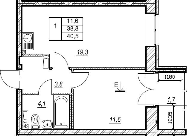 1-к.кв, 40.5 м², от 4 этажа
