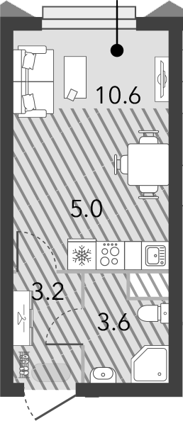 Студия, 22.4 м²– 2