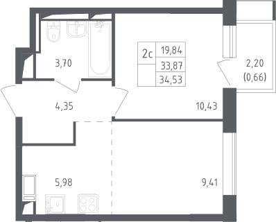 2Е-комнатная, 34.53 м²– 2