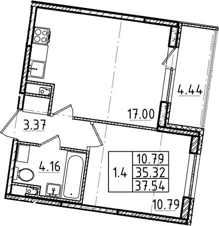 2Е-комнатная, 35.32 м²– 2