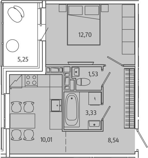 1-комнатная, 38.73 м²– 2