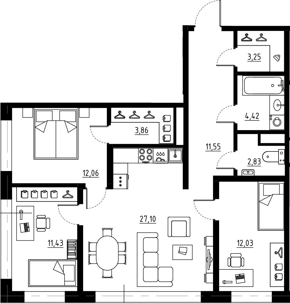 4Е-к.кв, 88.53 м², от 2 этажа